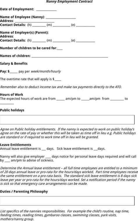 nanny contract template word nanny contract template for free formtemplate