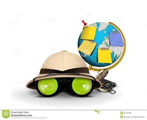explorer painting free explorer hat with binocular and globe royalty free stock
