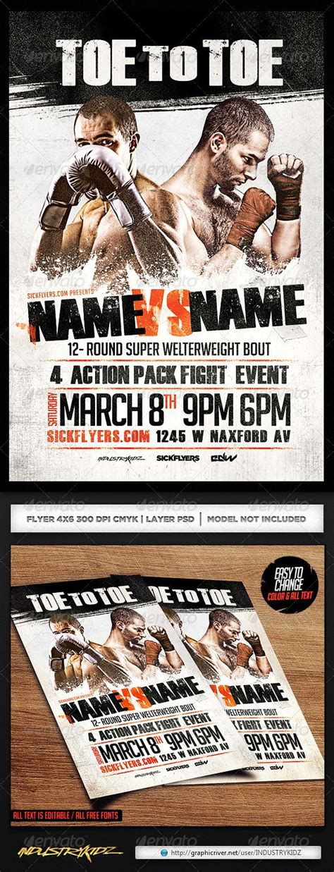 Boxing Flyer Template Psd Flyer Template Flyers And Boxing Fight Poster Template
