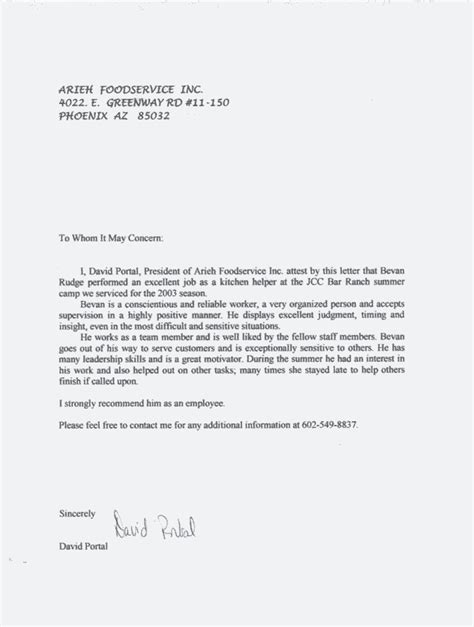 Recommendation Letter For Experience Employment Reference Letter