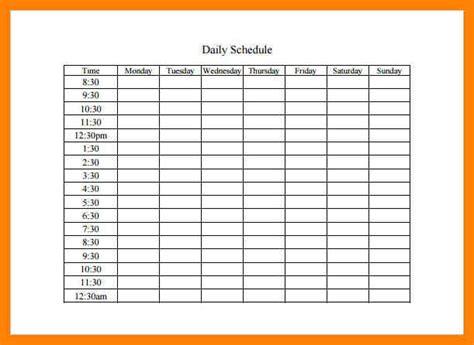 Day Schedule Template 6 day schedule template student resume format