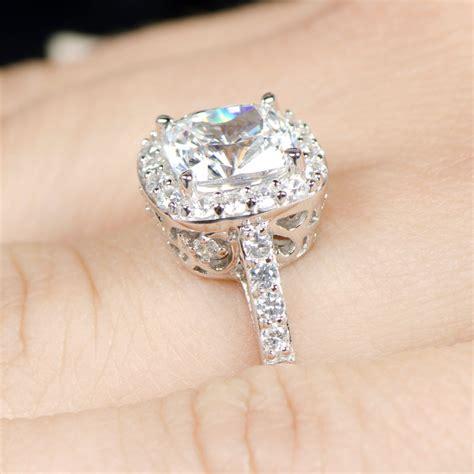 sheera s cushion cut cz halo engagement ring 8mm