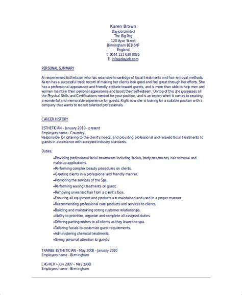 Esthetician Resume Exles by Esthetician Resume Template 5 Free Word Documents