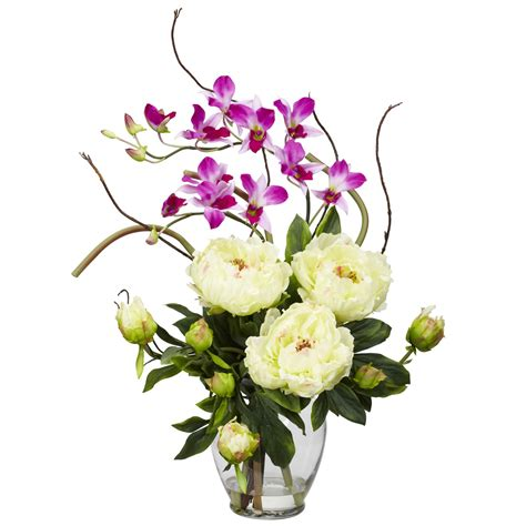 High Vase Centerpieces White Peony Amp Orchid Centerpiece Wedding Centerpieces