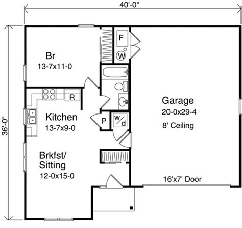 one bedroom floor plans with garage traditional style house plan 1 beds 1 baths 660 sq ft