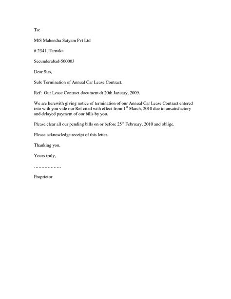 Contract Termination Letter Exle Contract Termination Letter Format Best Template Collection