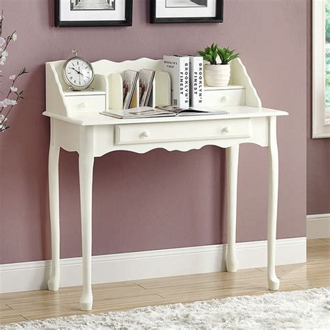 traditional antique white 36 inch desk