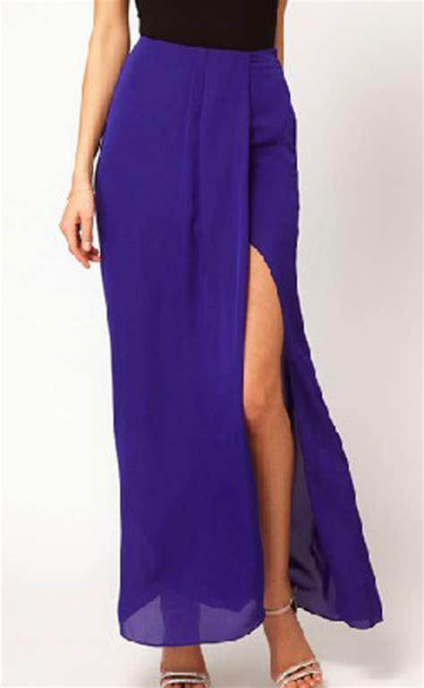 blue split front irregular chiffon maxi skirt sheinside