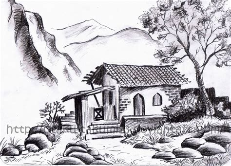 gallery easy drawings of houses drawings art gallery nature pincil drawing photos drawingj pencil nature