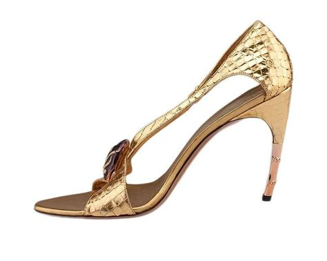Sandal St Yves Sz 39 tom ford for gucci gold python jeweled bamboo heel shoes