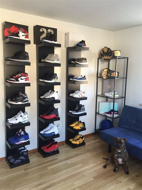 shelves for shoes i reved my sneaker room and my boy wanted to make sure he got in the pic collection nike