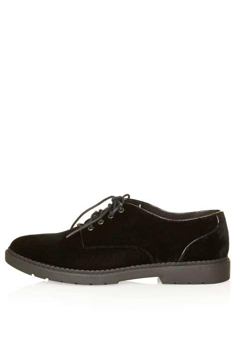 topshop metro velvet lace up shoes in black lyst