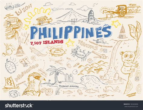 doodle rizal philippines tourism doodle collection eps10 editable stock
