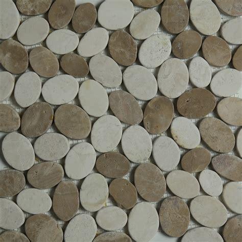 beige brown sliced stone pebble mosaic tile