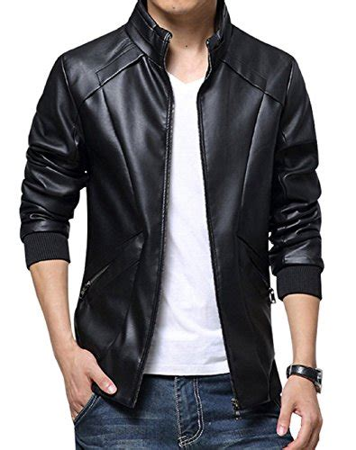 Jaket Semi Kulit Pria Buttons kiwen s stand up collar faux leather jacket slim fit
