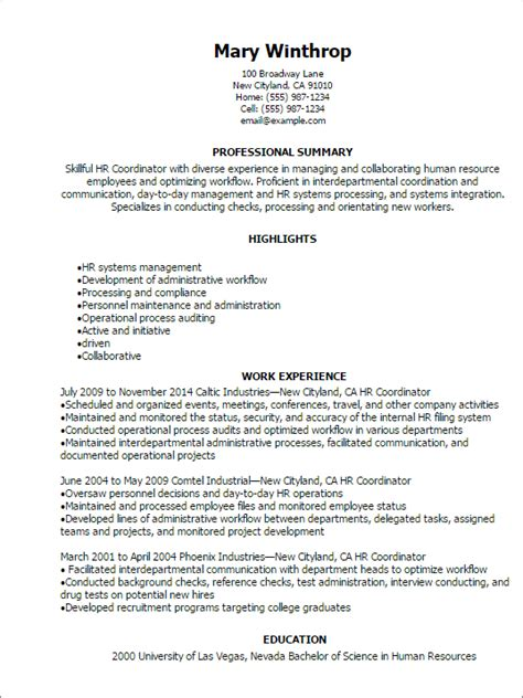 Resume Sles Human Resources Coordinator Professional Hr Coordinator Resume Templates To Showcase