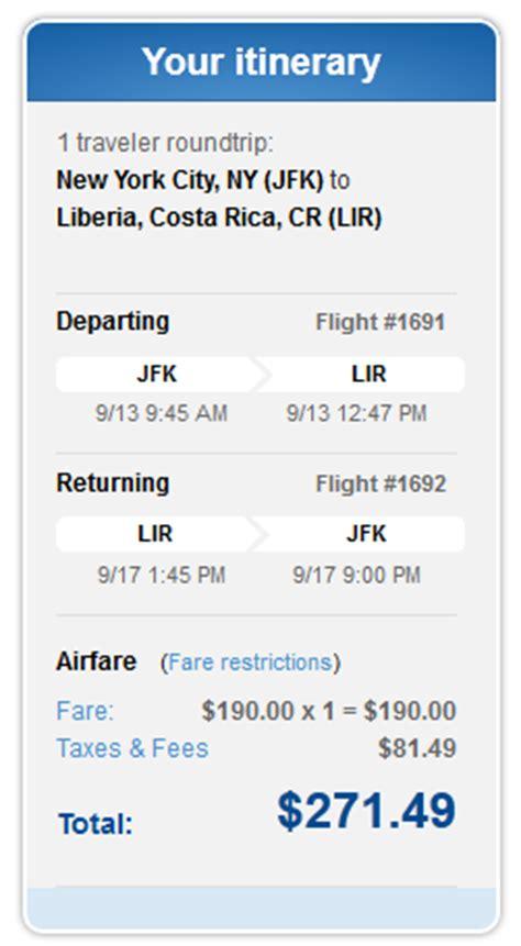 Jetblue Deal Calendar 271 Nyc To Liberia Costa Rica Nonstop R T Incl Tax