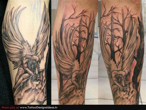 fallen angel tattoos for men fallen sleeve images designs