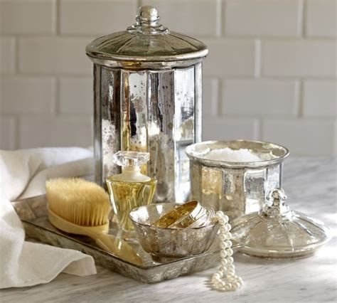 bathroom glass accessories mercury glass bath accessories bathroom accessories by pottery barn
