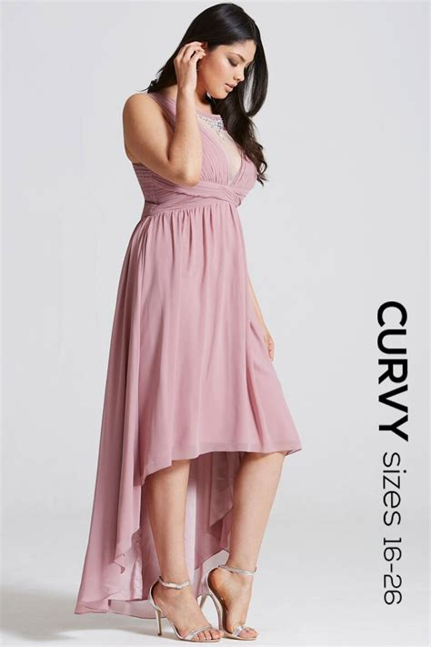 Dipped Hem Dresses by Curvy Dusty Pink Dipped Hem Maxi Dress
