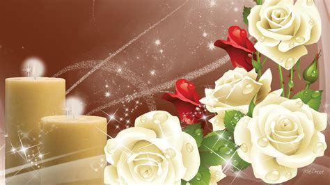 yellow candles white  red roses stars rain drop dew
