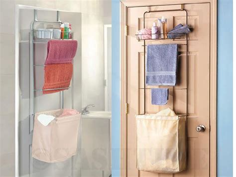 Bathroom Toiletry Storage New The Door Bathroom Toiletries Towel Rack Shelves W Laundry Her Basket Ebay