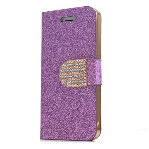 Blingcase Studed For Iphone bling flip leather stand cover for apple iphone 5 5s silver n3 ebay