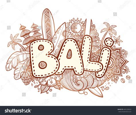 doodle sign on henna colors vector bali sign on stock vector 481235632