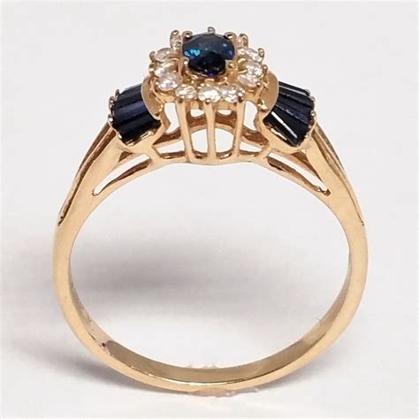 Swiss Army Rj Black Ring Gold In White Color Fashion sapphire and 14k yellow gold bow ring