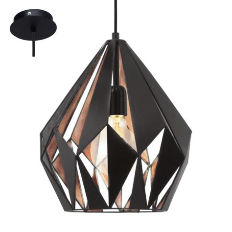 Black And Copper Pendant Light Eglo 49254 Carlton1 1 Light Ceiling Pendant Black Copper
