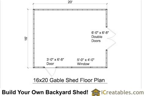 16x20 floor plans 16x20 gable shed plans large backyard shed plans