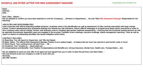appointment letter risk assessor risk assessment manager offer letter cv14113
