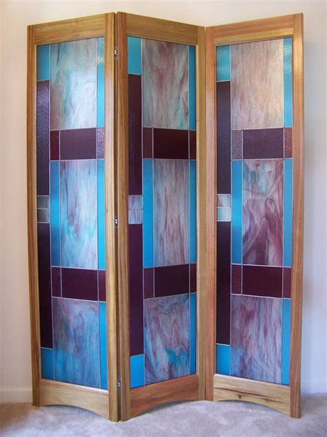 Glass Panel Room Divider Stained Glass Room Divider 3 Panel Screen Bordeaux Model By