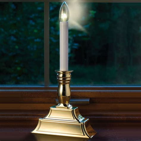 electric candle lights the dual intensity window candles hammacher schlemmer