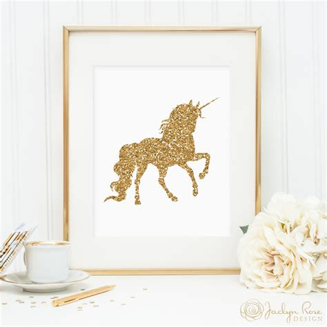 unicorn print printable wall decor gold glitter unicorn