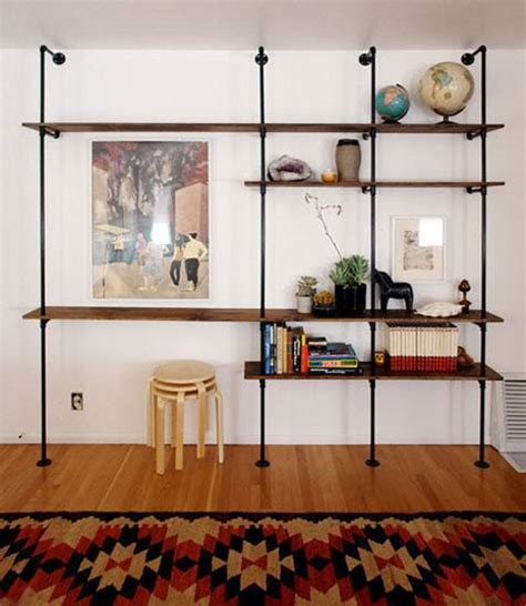 diy pipe shelving 20 diy shelving ideas racks and wall shelves created with metal pipes and fittings