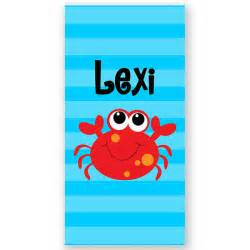 cute crab beach towel crab beach towel personalized bath or beach towel personalized bath