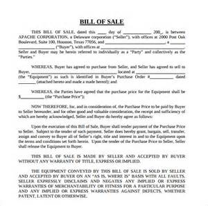 bill of sale template doc sle equipment bill of sale template 7 free documents