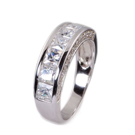 mens sterling silver cz wedding band ring size   ebay