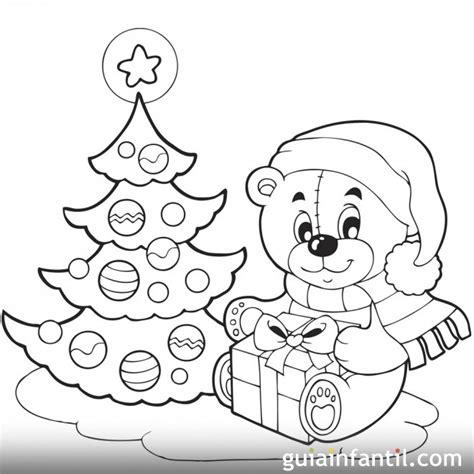 osito de peluche con regalo dibujos de navidad un osito con su regalo 193 rbol de navidad para colorear