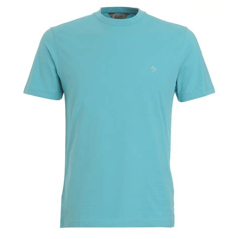 original penguin aqua blue t shirt plain