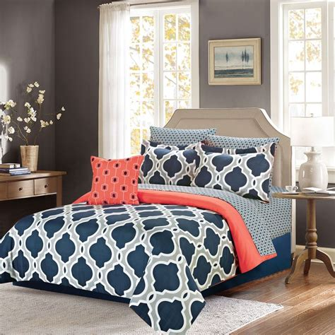 coral navy bedding crest home ellen westbury king comforter bedding set with sheets navy blue and grey