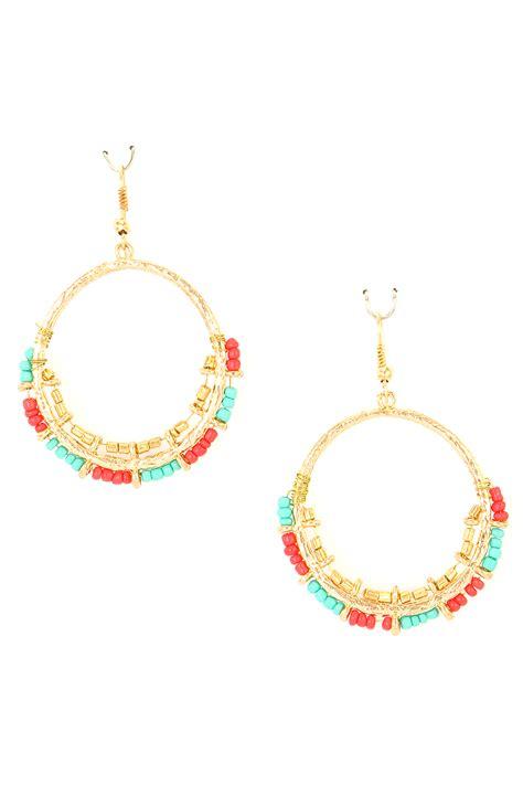 bead earrings seed bead dangle hoop earring earrings