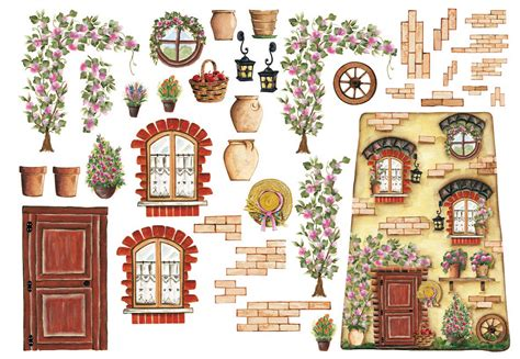 Decoupage House - decoupage ricepaper house with flowers by calambour