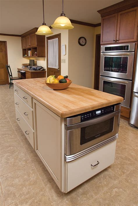 kitchen island with microwave drawer microwave in island pros cons