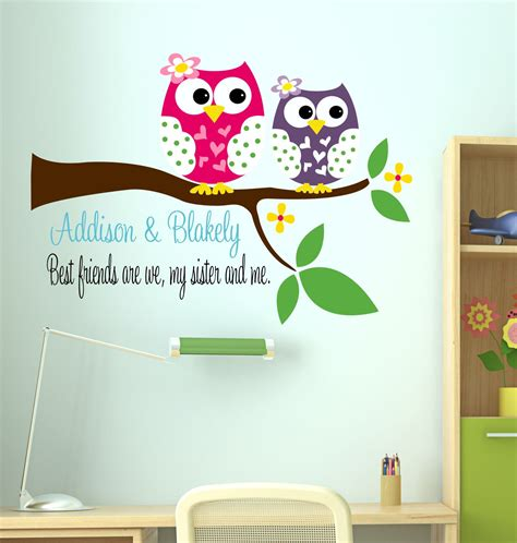 owl bedroom decor kids owl decal sisters wall decal with owl name wall decal