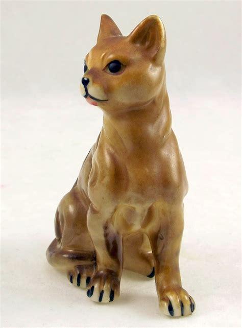vintage porcelain brown striped cat figurine japan mid