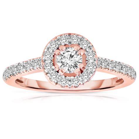 carat  cut halo diamond engagement ring  rose