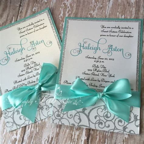Custom Handmade Invitations - custom handmade personalized bling silver glitter sweet