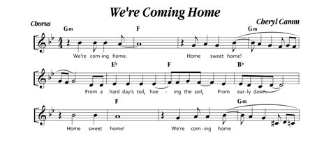 we re coming home sheet score musical notation by